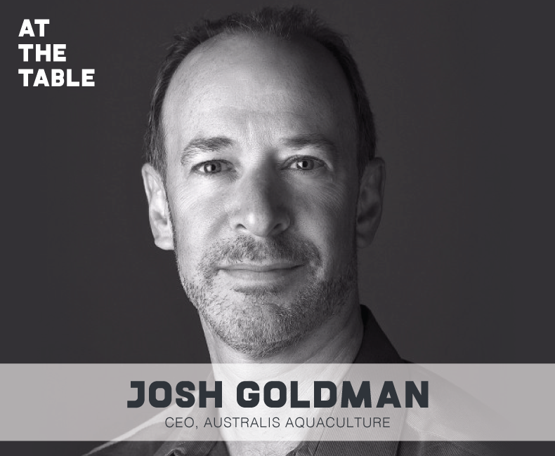 Headshot of Josh Goldman, who joins me on the At The Table podcast to talk about aquaculture, sustainable fish farming, and the future of the industry.